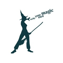 Illustration of standing young witch icon. Witch silhouette with a broomstick. Halloween relative image. Make your own magic text.