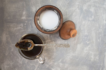 coffee and sugar on concrete background