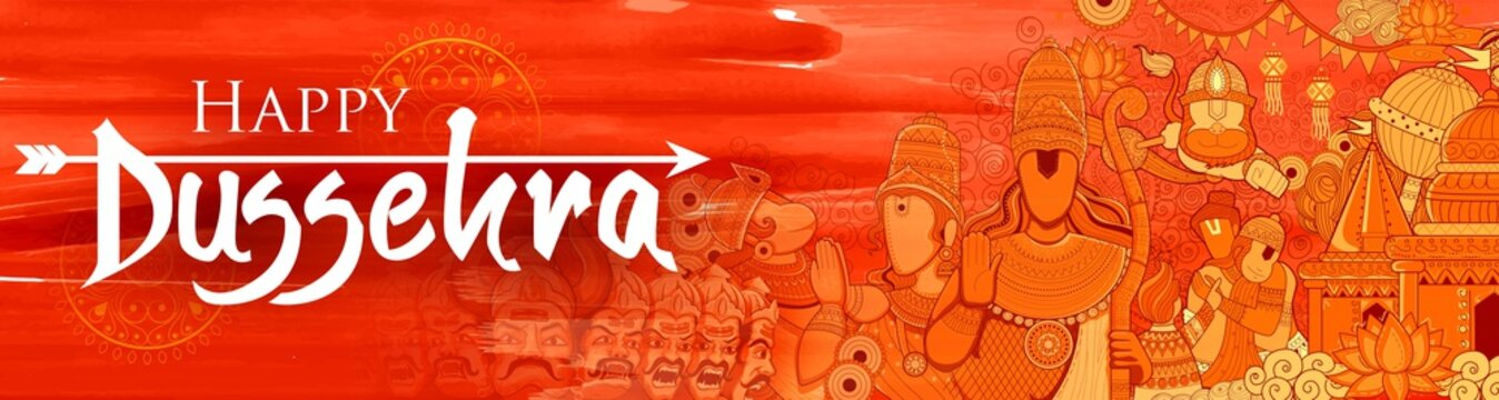 Lord Ram, Sita, Laxmana, Hanuman and Ravana in Dussehra Navratri festival of India poster