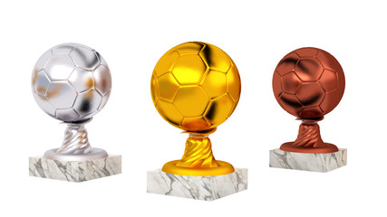 Handball Gold Silver and Bronze Trophies with Marble Bases