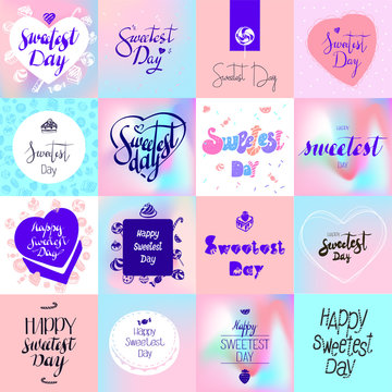 Sweetest day logo set. Simple set of sweetest day vector logo for web design on white background