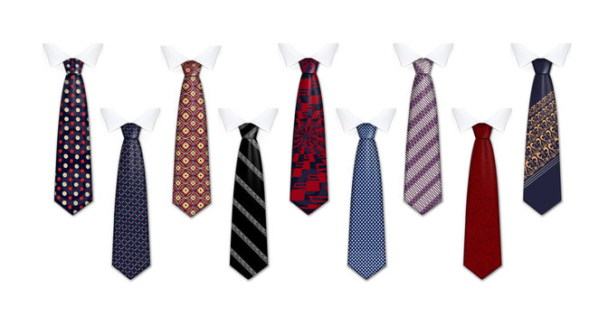 Tie suit icon set. Realistic set of tie suit vector icons for web design isolated on white background