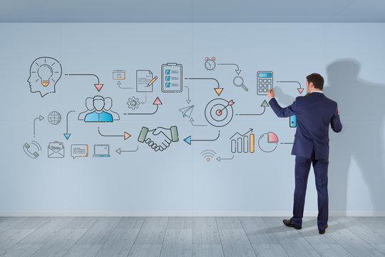 Businessman drawing thin line icon project plan presentation