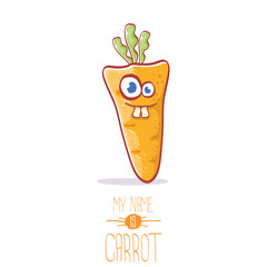 vector funny cartoon cute carrot character isolated on white background. My name is carrot vector concept illustration. funky autumn vegetable food character
