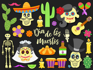 Dia de los muertos. Day of the Dead traditional mexican holiday elements set. Paper cut style flat icons with shadow on black background. Vector illustration.