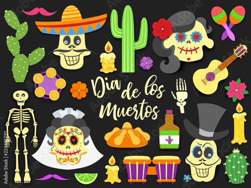 Day Of The Dead Traditional Mexican Holiday Elements Set Paper