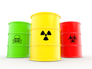 3d barrel drums with radiations bio hazard and toxic material symbols