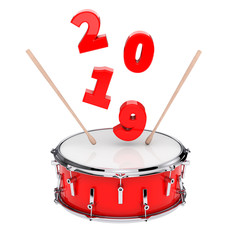 Red Snare Drum with Pair of Drum Sticks and 2019 New Year Sign. 3d Rendering