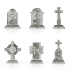 Different gravestone models isolated on white background with soft reflections