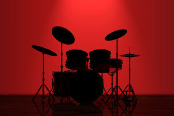 Professional Rock Drum Kit with Red Backlight in front of Wall. 3d Rendering