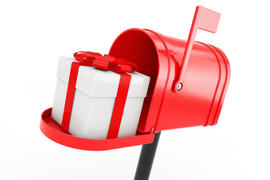 White Gift Box with Red Ribbon in Red Mailbox. 3d Rendering