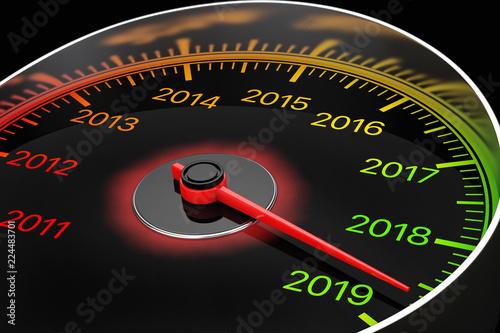 Conceptual 2019 New Year Speedometer  3d Rendering