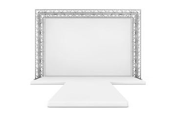 Blank Advertising Outdoor Banner on Metal Truss Construction System with Empty Podium. 3d Rendering