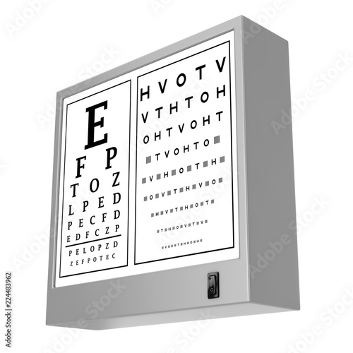 Snellen Eye Chart Test Light Box   3d Rendering