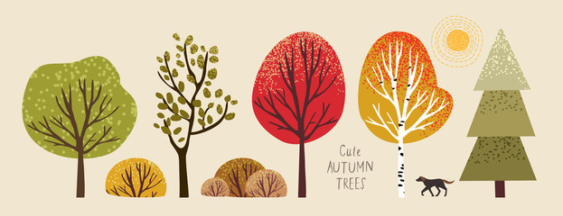 autumn trees, set of vector illustrations of cute trees and shrubs: oak, birch, aspen, linden, fir, sun and dog Wall mural