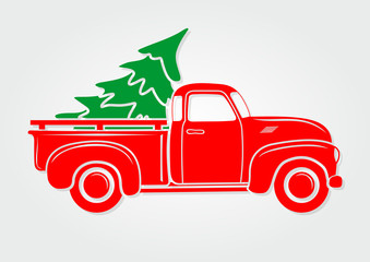 Vintage pickup, truck with Christmas tree. Vector illustration.