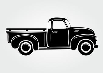 Vintage pickup, truck. Vector illustration.  Retro transport vehicle