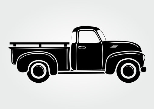 Vintage pickup, truck. Vector illustration.  Retro transport vehicle