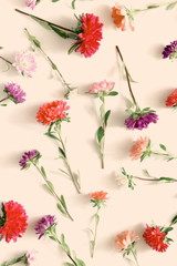 Flowers composition. Pattern made of fall flowers on light pastel pink background. Autumn concept. Flat lay, top view