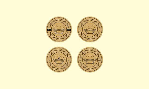 retro vintage bathtub logo vector icon