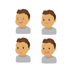 Set of boy emotions,isolated faces