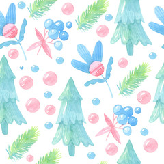 watercolor cartoon illustration. Seamless christmas, new year pattern with a Christmas tree, balls, flowers, berries, twigs