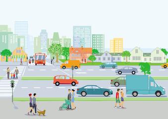 Stadtansicht mit Nahverkehr undFußgänger