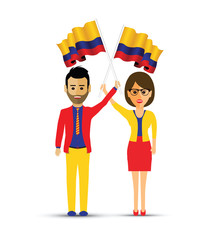 Colombia flag waving man and woman