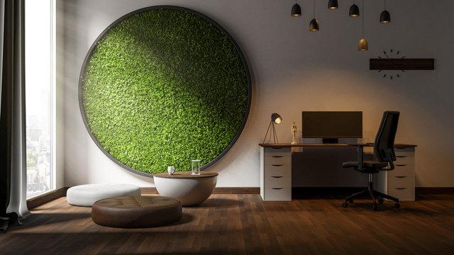 Modernes Büro mit Graswand