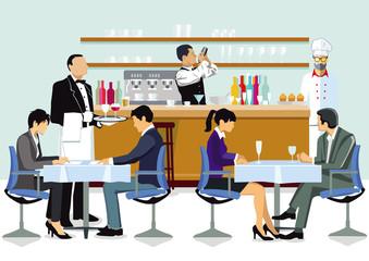 Restaurant mit Gästen, Kellner und Koch