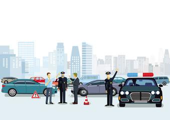 Verkehrsunfall mit Polizisten und Polizeiauto