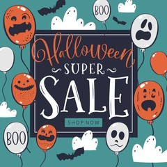 """Halloween Sale concept with scary air balloons and """"super sale"""" text. Banner or invitation template. Vector illustration."""
