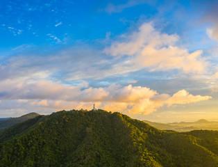 aerial view scenery sunrise Phuket big Buddha