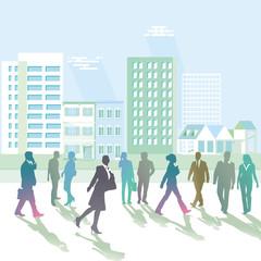 Fußgänger beim Spaziergang, Stadtansicht