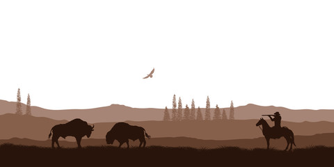 Silhouette of desert with cowboy on horse. Natural panorama of hunting scenery. American landscape. Wildlife western scene