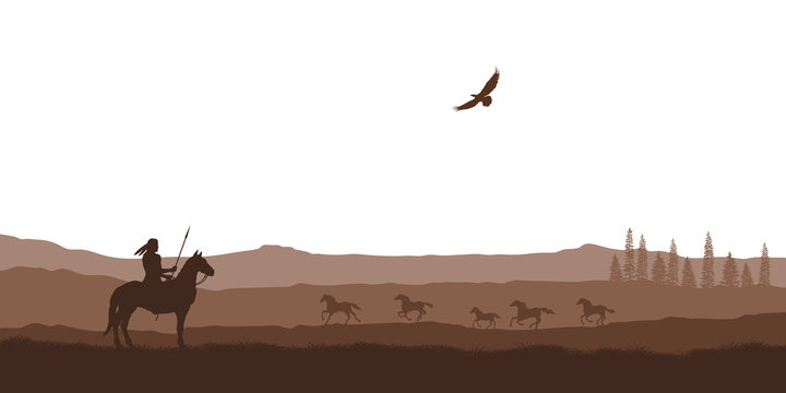 Silhouette of desert with indian on horse. Natural panorama of wilderness scenery. American landscape. Wildlife western scene
