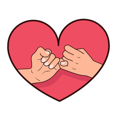 hand pinky promise with heart shape