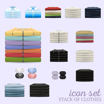 Stack of clothes vector icon set