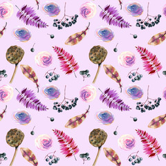 Seamless pattern with watercolor feathers, roses, berries and lotus boxes, hand painted on a light purple background