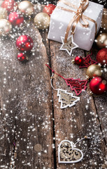 Christmas background with decoration ball , Red celebration balls on wooden board