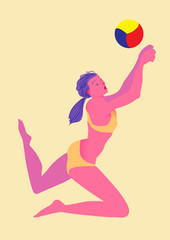 Beach volleyball. Girl in bikini returns a ball. Female figure. Image of people isolated on a yellow background. Vector illustration.