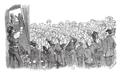 Punch and Judy Show performance consists of a sequence of short scenes in this picture, vintage engraving.