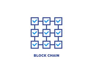 Blockchain vector icon outline style
