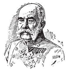 Fototapeta Francis Joseph I, vintage illustration obraz