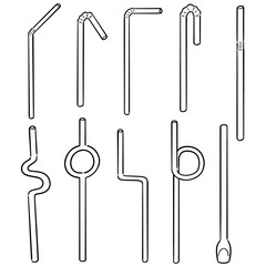 vector set of straw