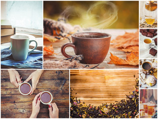 Collage autumn. tea hot drink. Selective focus.