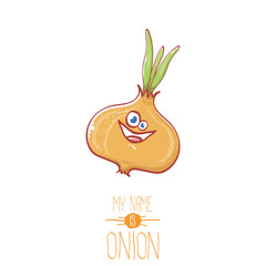 vector funny cartoon cute tiny onion character isolated on white background. My name is onion vector concept illustration. funky summer vegetable food character