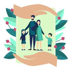 Family insurance symbol metaphor. Flat style. Cartoon vector illustration