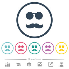 Glasses and mustache flat color icons in round outlines