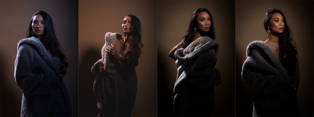 Collage Group pack of Beautiful Asian Tanned skin long black hair woman in gray fur dress slim, fashion make up, studio lighting beige yellow background copy space, dramatic low exposure